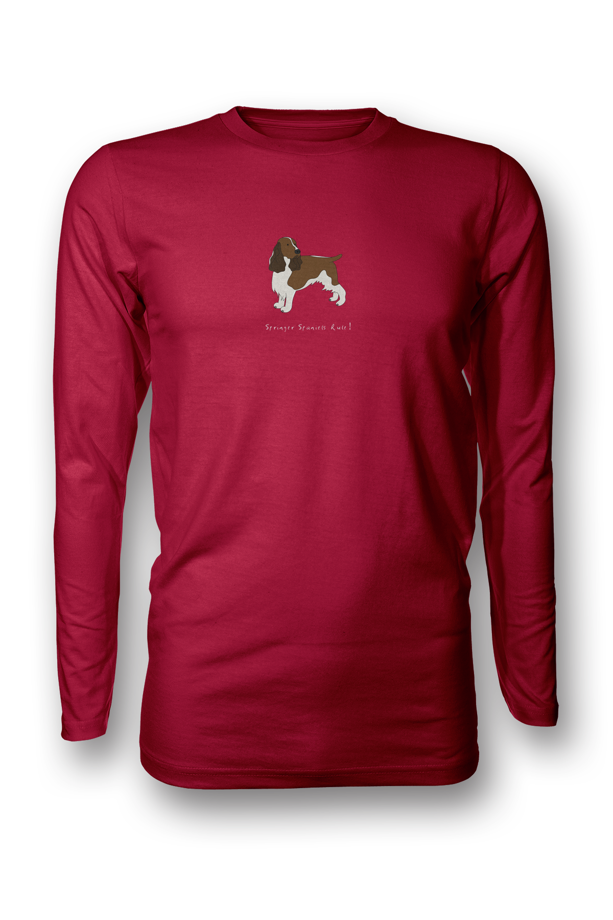 Mens Long Sleeve T-Shirt - Springer Spaniels Rule! Red
