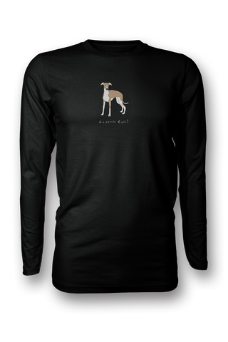 Mens Long Sleeve T-Shirt - Whippets Rule! Black