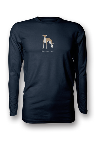 Mens Long Sleeve T-Shirt - Whippets Rule! Navy