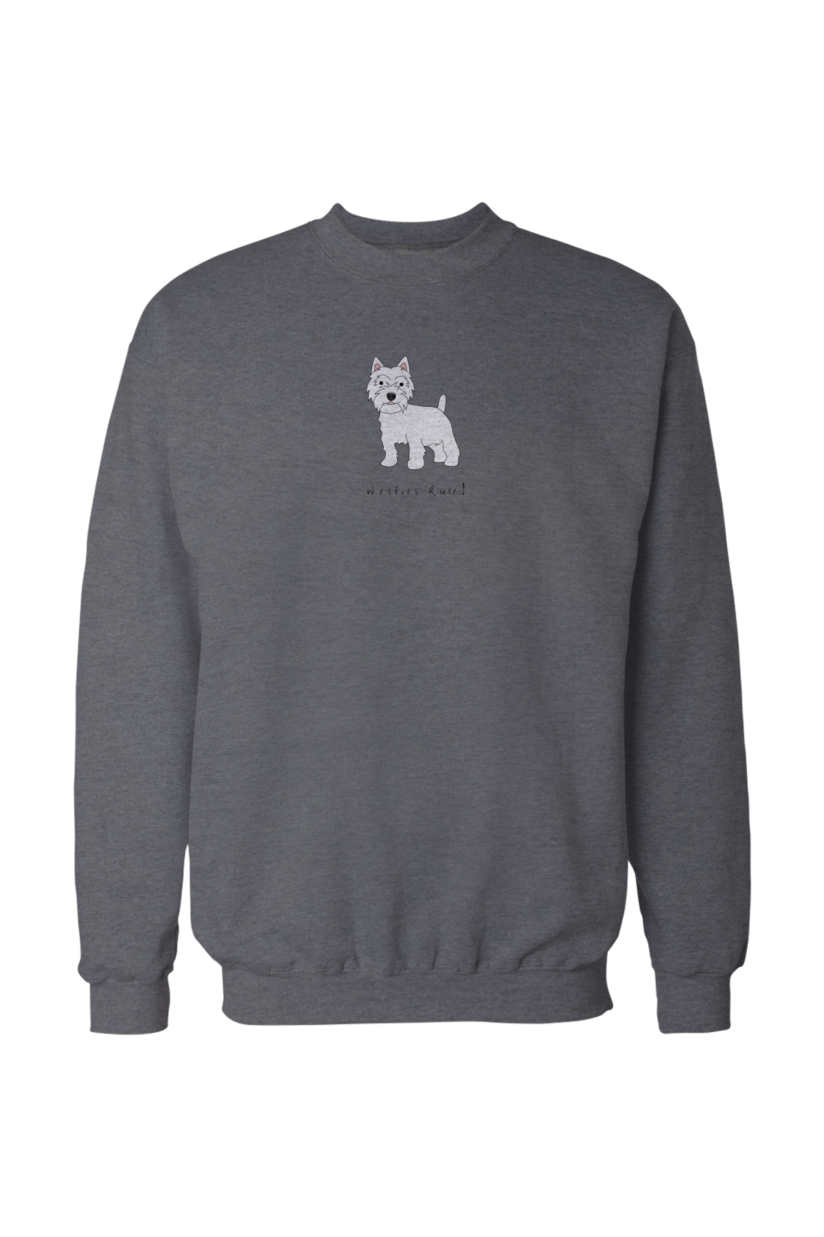 Mens Drop Shoulder Sweatshirt - Westies Rule! Grey