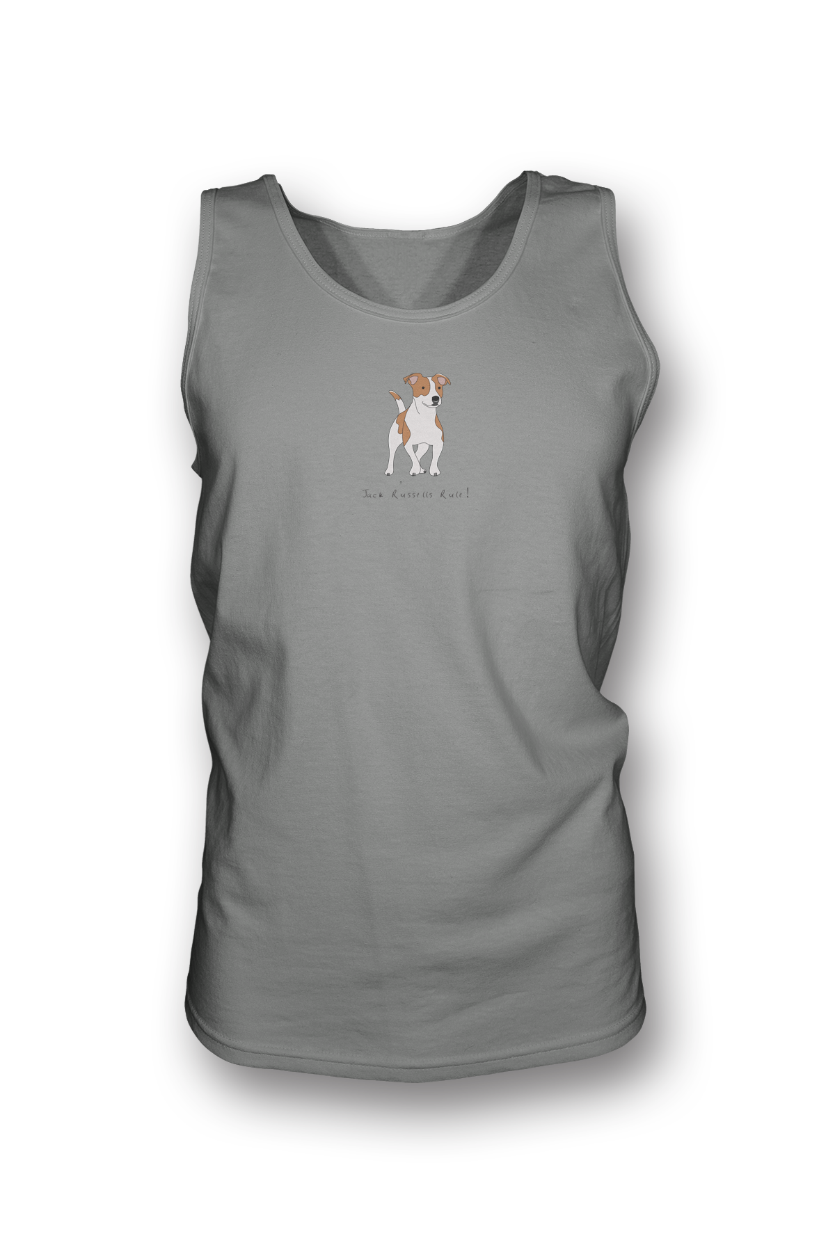 Mens Tank Top T-Shirt - Jack Russells Rule! Heather Grey