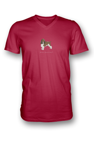 Mens V Neck T-Shirt - Springer Spaniels Rule! Red