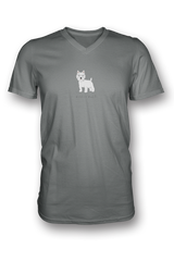 Mens V Neck T-Shirt - Westies Rule! Charcol