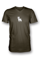 Mens V Neck T-Shirt - Westies Rule! City Green