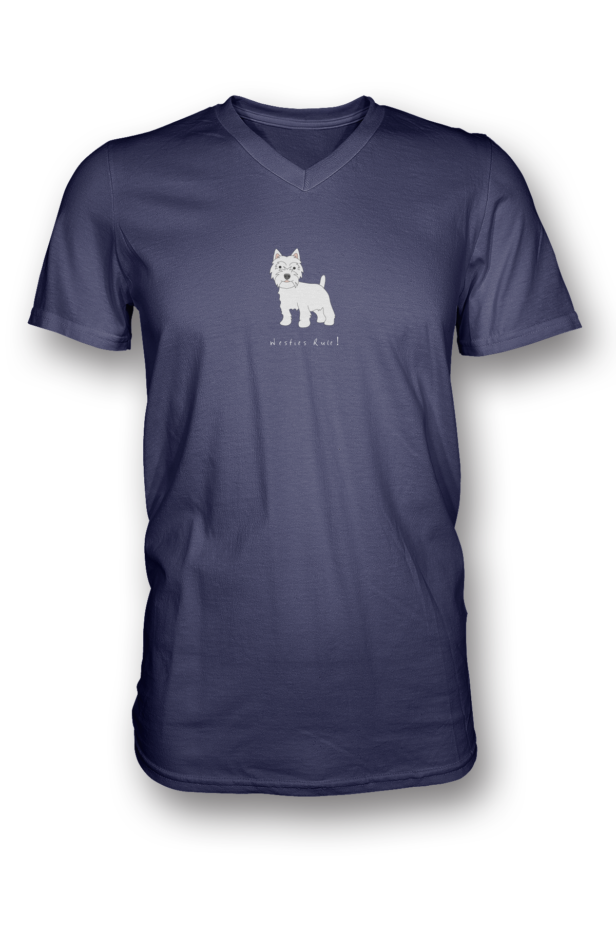 Mens V Neck T-Shirt - Westies Rule! Heather Blue