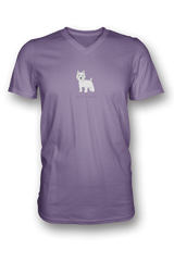 Mens V Neck T-Shirt - Westies Rule! Heather Purple