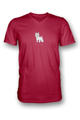 Mens V Neck T-Shirt - Westies Rule! Red