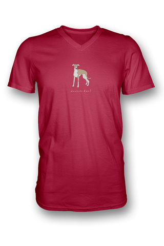 Mens V Neck T-Shirt - Whippets Rule! Red