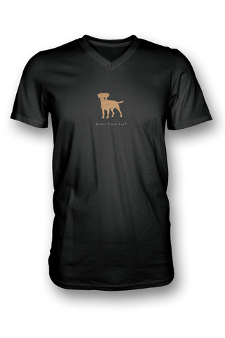 Mens V Neck T-Shirt - Boarder Terriers Rule! Black