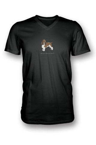 Mens V Neck T-Shirt - Springer Spaniels Rule! Black