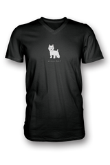 Mens V Neck T-Shirt - Westies Rule! Black