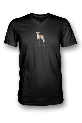 Mens V Neck T-Shirt - Whippets Rule! Black