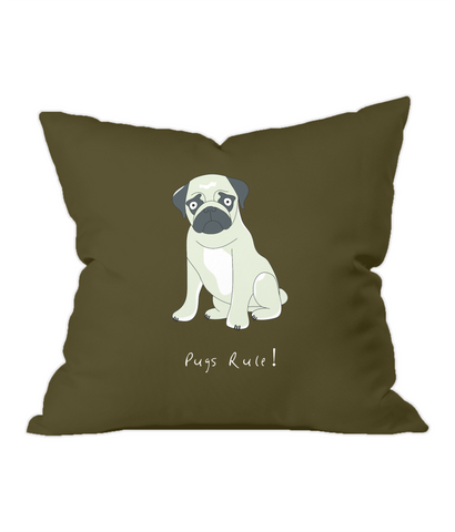 Pugs Rule! Chocolate Throw Cushion