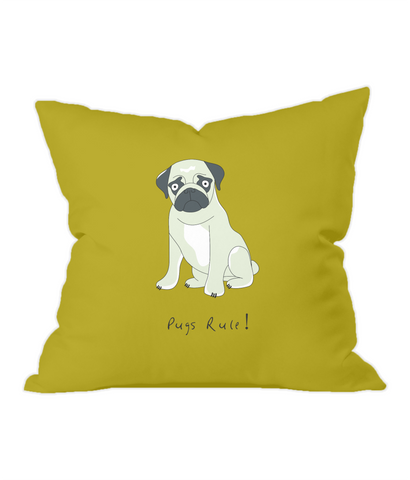 Pugs Rule! Gold Throw Cushion