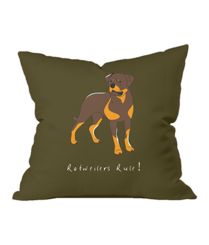 Throw Cushion - Rotweilers Rule!