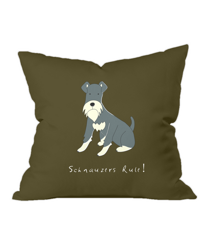 Schnauzers Rule! Chocolate Throw Cushion