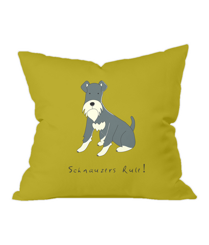 Schnauzers Rule! Gold Throw Cushion