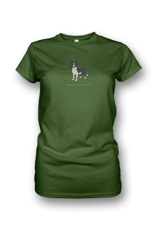 Ladies Crew Neck T-Shirt - Boarder Collies Rule!