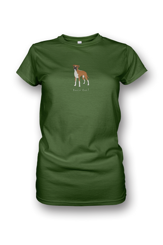 Ladies Crew Neck T-Shirt - Boxers Rule! Green Apple