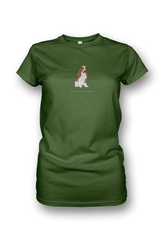 Ladies Crew Neck T-Shirt - Cocker Spaniels Rule! Apple Green