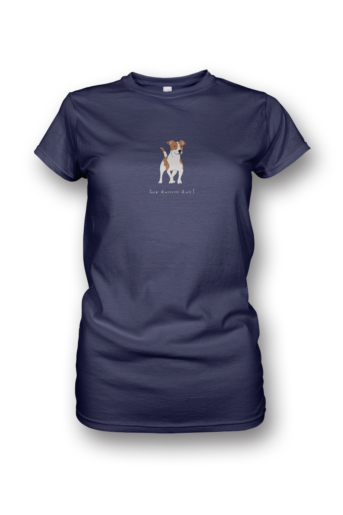 Ladies Crew Neck T-Shirt - Jack Russells Rule! Heather Blue