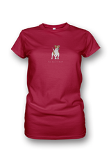Ladies Crew Neck T-Shirt - Jack Russells Rule! Red