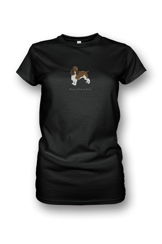 Ladies Crew Neck T-Shirt - Springer Spaniels Rule! Black