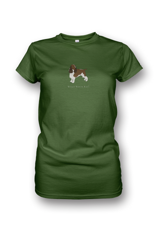 Ladies Crew Neck T-Shirt - Springer Spaniels Rule! Apple Green