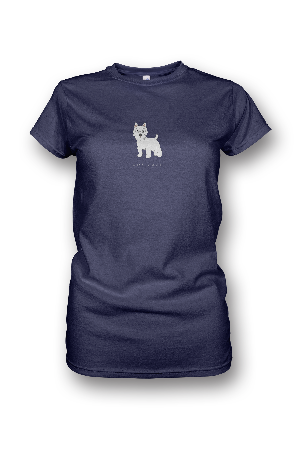 Ladies Crew Neck T-Shirt - Westies Rule! Heather Blue