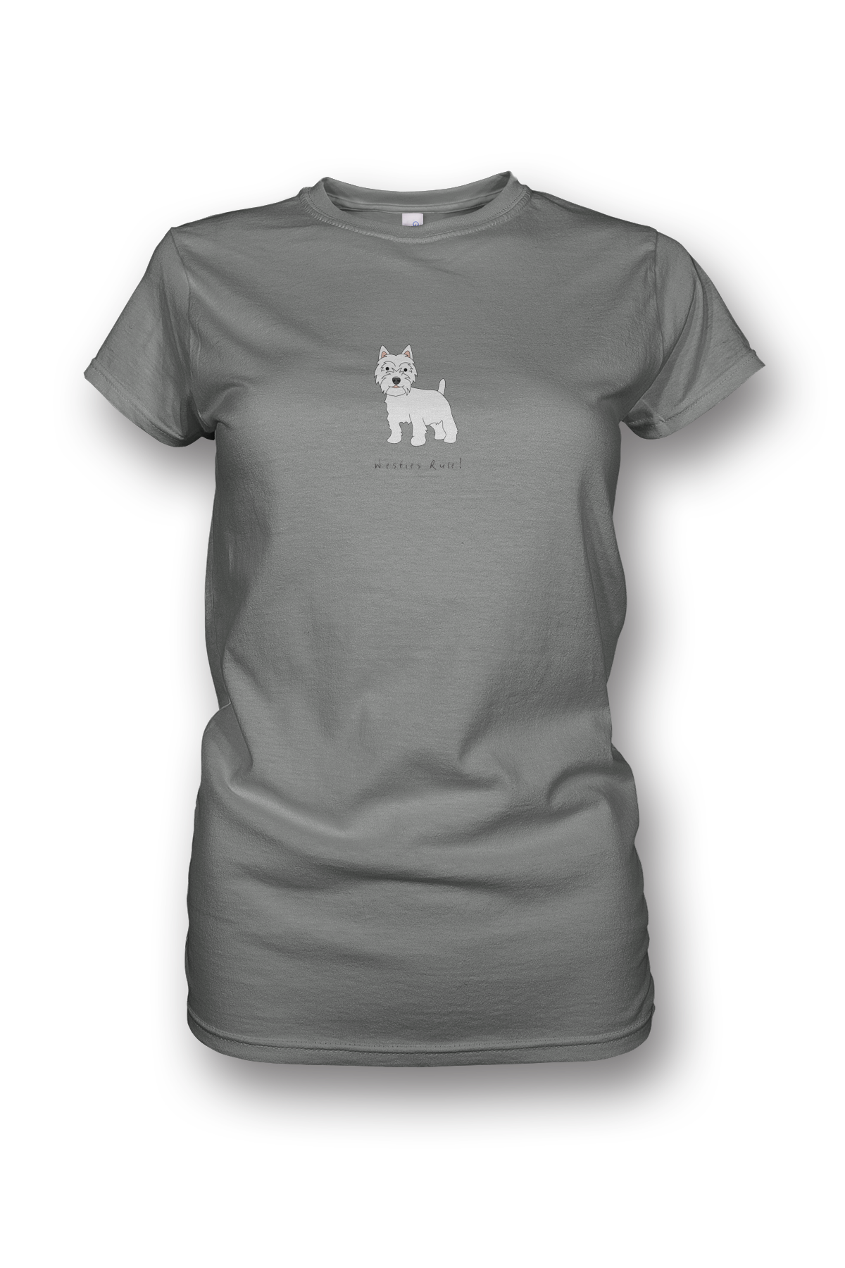 Ladies Crew Neck T-Shirt - Westies Rule! Heather Grey