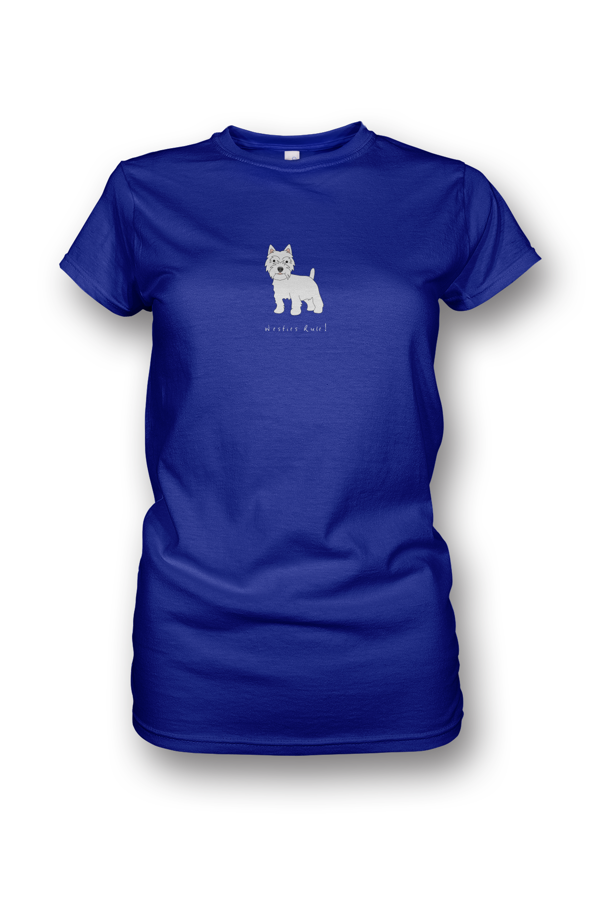 Ladies Crew Neck T-Shirt - Westies Rule! Neon Blue