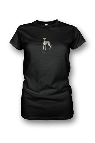 Ladies Crew Neck T-Shirt - Whippets Rule! Black