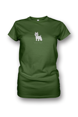 Ladies Crew Neck T-Shirt - Westies Rule! Apple Green