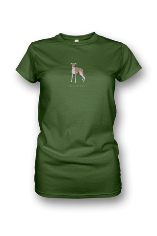 Ladies Crew Neck T-Shirt - Whippets Rule! Apple Green