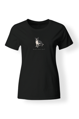 Ladies Fitted Crew Neck T-Shirt - Boarder Collies Rule! Black