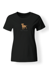 Ladies Fitted Crew Neck T-Shirt - Boarder Terriers Rule! Black