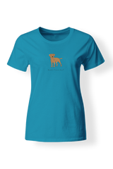Ladies Fitted Crew Neck T-Shirt - Boarder Terriers Rule! Cribbean Blue