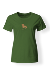 Ladies Fitted Crew Neck T-Shirt - Boarder Terriers Rule! Apple Green