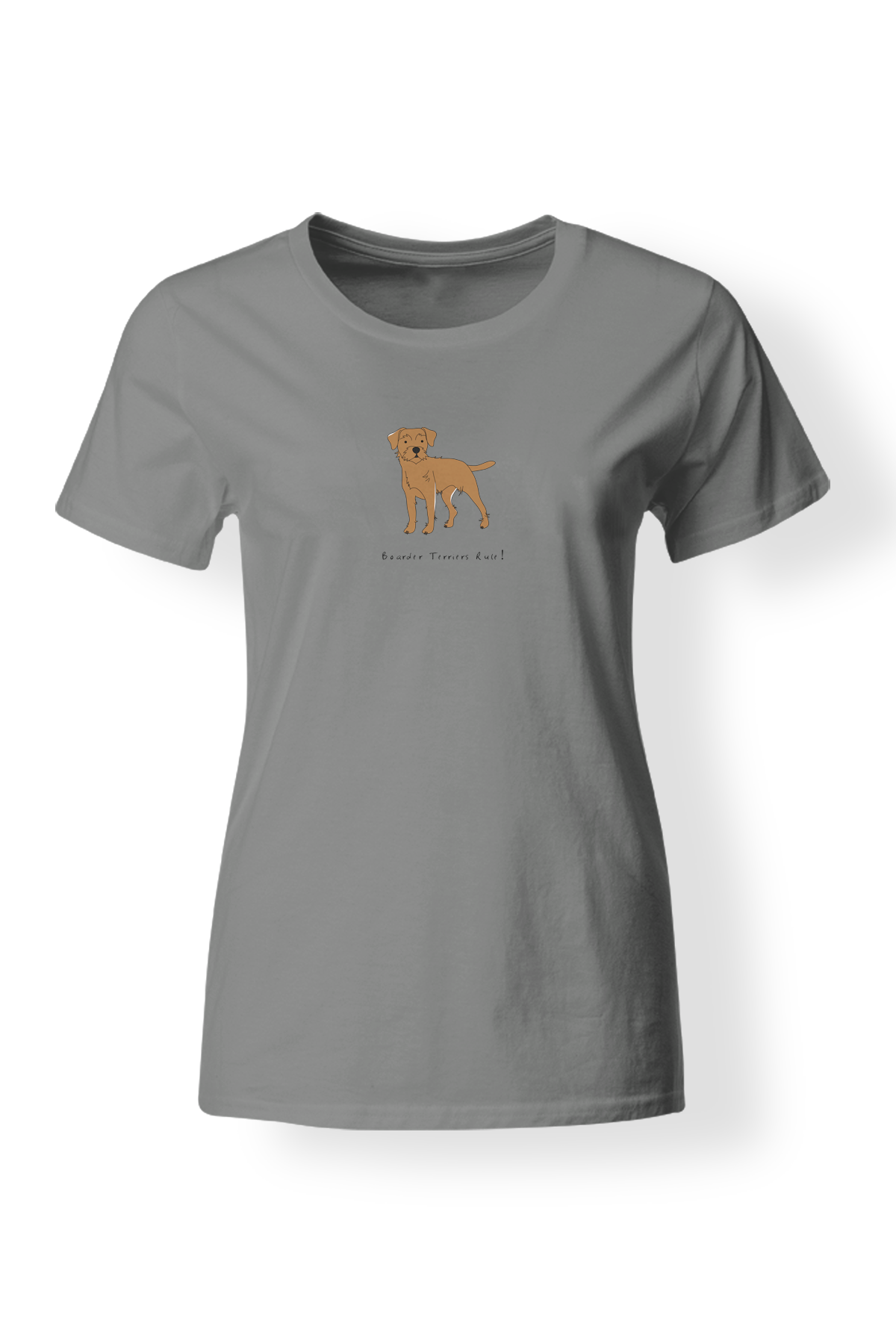 Ladies Fitted Crew Neck T-Shirt - Boarder Terriers Rule! Heather Grey
