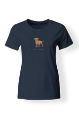 Ladies Fitted Crew Neck T-Shirt - Boarder Terriers Rule! Heather Blue