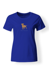Ladies Fitted Crew Neck T-Shirt - Boarder Terriers Rule! Neon Blue