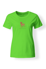 Ladies Fitted Crew Neck T-Shirt - Boarder Terriers Rule! Neon Green