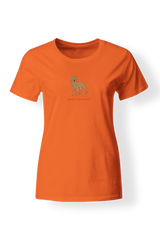 Ladies Fitted Crew Neck T-Shirt - Boarder Terriers Rule! Neon Orange