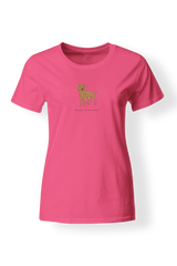 Ladies Fitted Crew Neck T-Shirt - Boarder Terriers Rule! Neon Pink