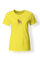 Ladies Fitted Crew Neck T-Shirt - Boarder Terriers Rule! Neon Yellow