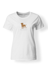 Ladies Fitted Crew Neck T-Shirt - Boarder Terriers Rule! White