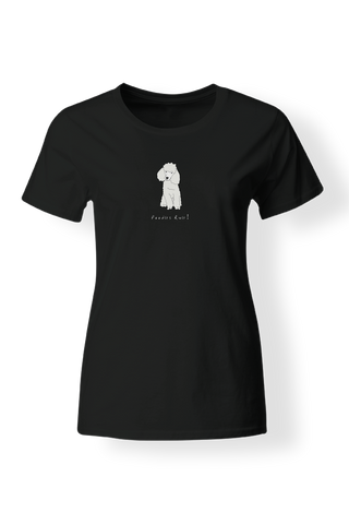 Ladies Fitted Crew Neck T-Shirt - Poodles Rule! Black
