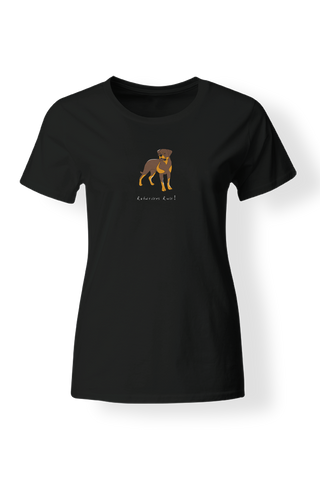 Ladies Fitted Crew Neck T-Shirt - Rotweilers Rule! Black