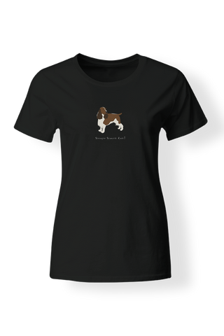 Ladies Fitted Crew Neck T-Shirt - Springer Spaniels Rule! Black