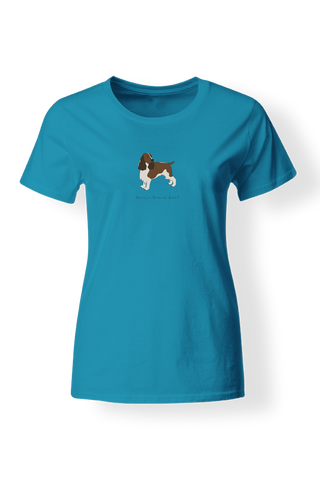 Ladies Fitted Crew Neck T-Shirt - Springer Spaniels Rule! Caribbean Blue